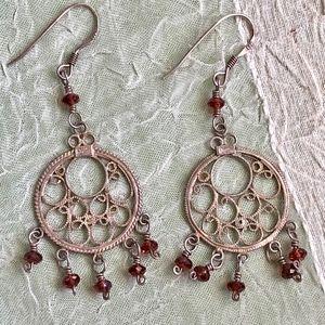 Vintage Boho Tribal Dangle Sterling Earrings